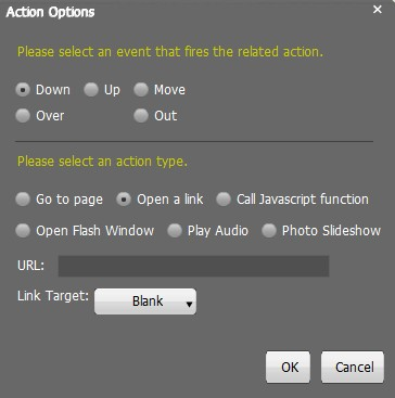 Flash Action Options for Image in Flash Page Flip Book