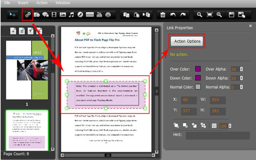 "Click ""Add Link"" and draw effective object in the PDF page"