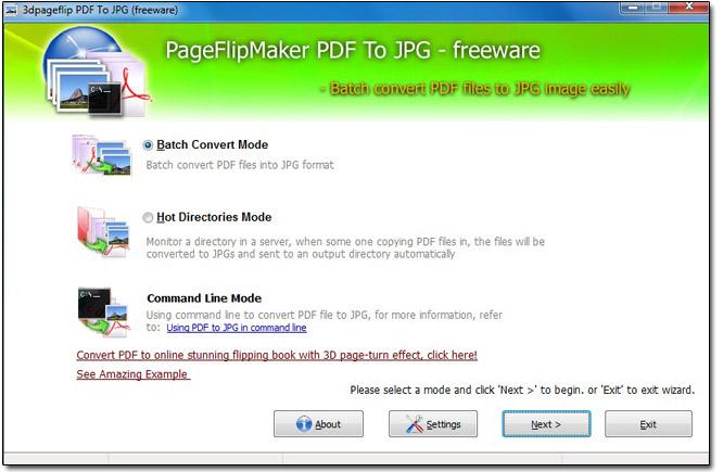 Windows 7 Free PageFlipMaker PDF to JPG 1.0 full